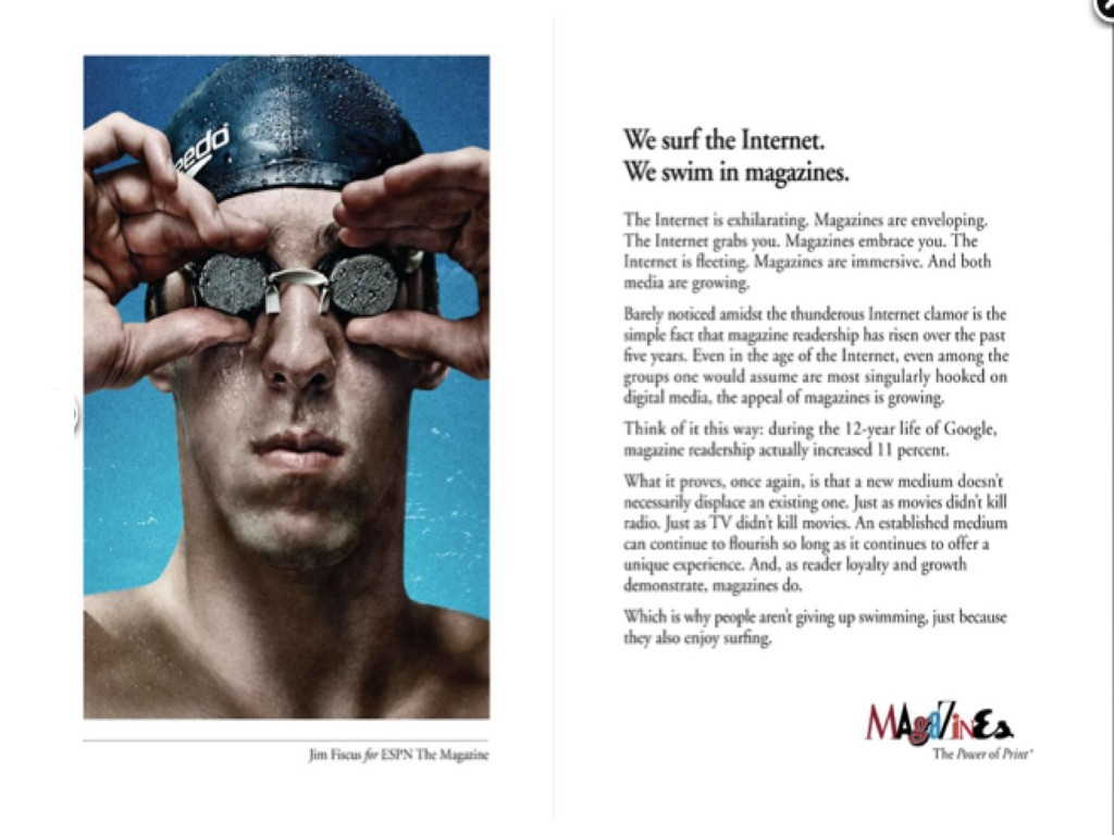 Power of Print ad campaign sponsored by 5 major magazine publishers