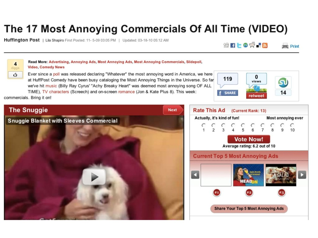 HuffingtonPost — Most Annoying Commercials of All Time