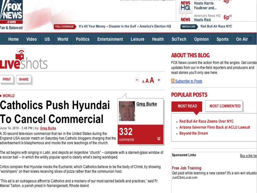 Hyundai capitalizes on World Cup mania but by offending Christians.