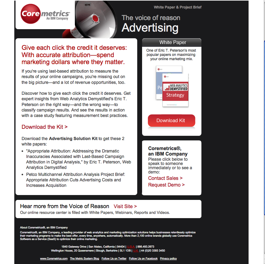 Coremetrics confuses with this e-mail that has little to do with true advertising.
