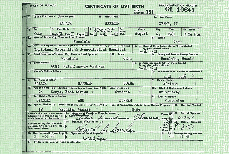 PNG Screenshot of President Obama's Long Form Birth Certificate