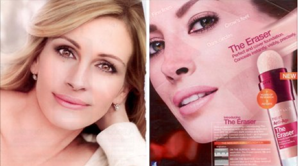 Julia Roberts and Christy Turlington retouched cosmetic ads have been banned in Britain.