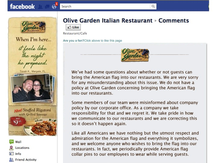 "Official Olive Garden response to the ""flag"" incident."