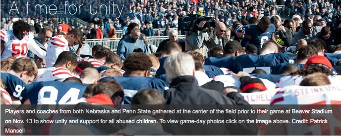 Moment of unity at first PSU football game after the story broke.