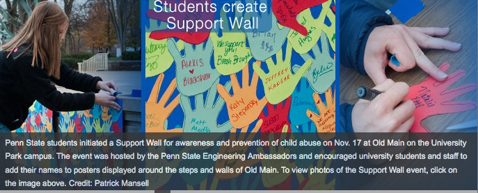 PSU students have created a support wall on campus.