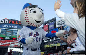 Mr. Met doesn't mind stitches.