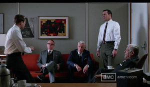 A Mad Men partner meeting that isn't going well.