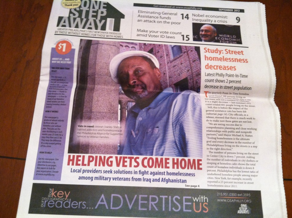 One Step Away is a new newspaper sold by the homeless in Philadelphia to help the homeless.