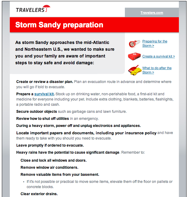 Travelers sent a safety email to customers in advance of Sandy.