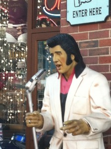 Elvis lives (outside many storefronts) in the Nashville Expo Center neighborhood.