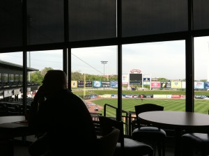 The view from the Lancaster Barnstormers' main hospitality suite