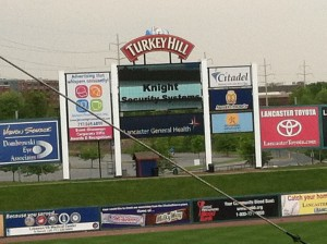 The Lancaster Barnstormers' scoreboard is a great promotional addition to events held there.